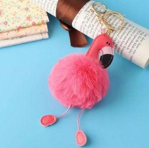 NWT Flamingo Pom Pom Fluffy Keychain Purse Charm